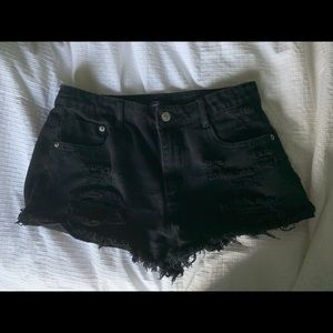 FOREVER 21 Ripped Distressed Black Shorts